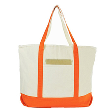 Deluxe Heavy Duty Zippered Cotton Canvas Tote Bag