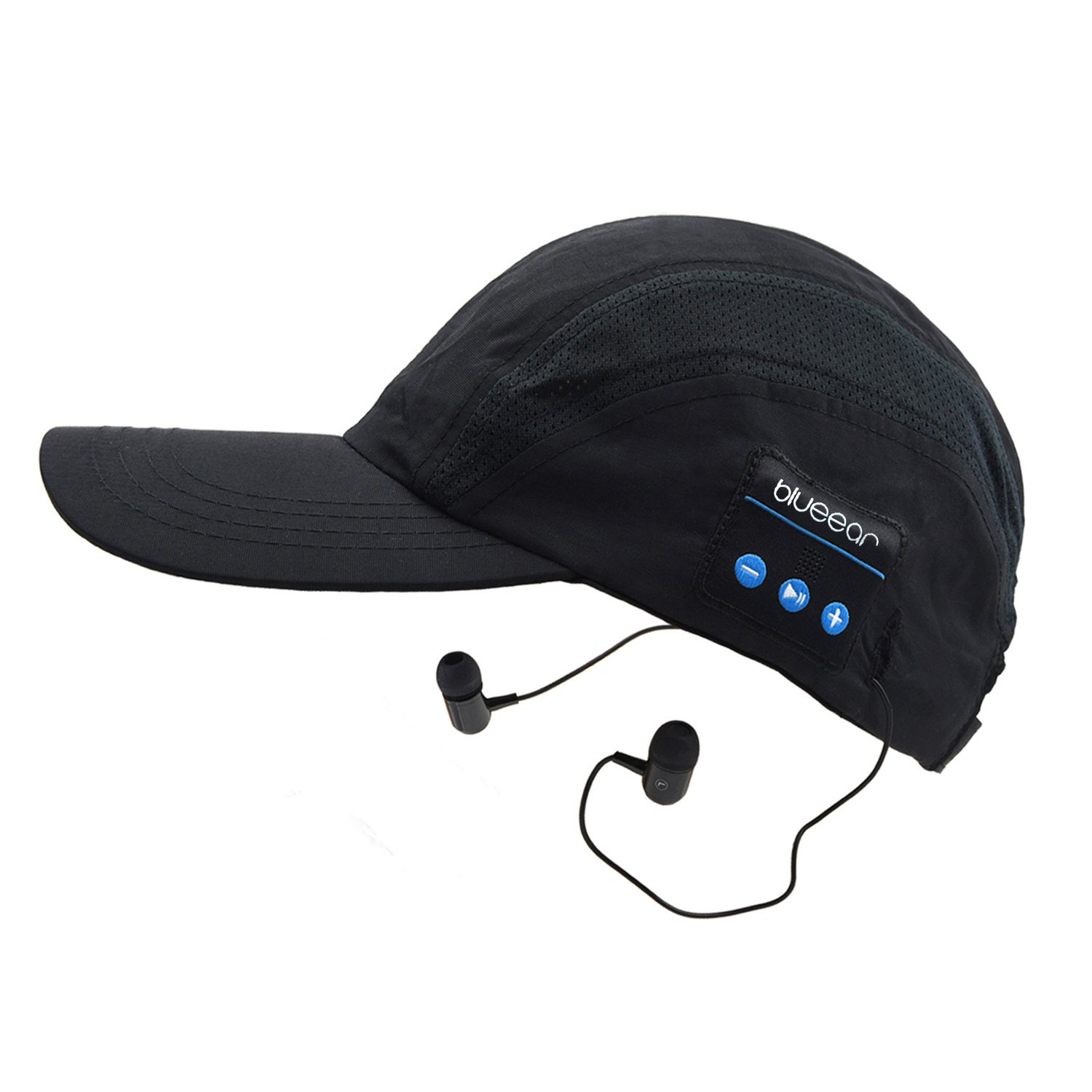 Forestfish Black Wireless Bluetooth Cap Baseball Cap Sun Hat Sports Outdoors Stereo Headset Earphone Call with Mic Adjustable for Men Women