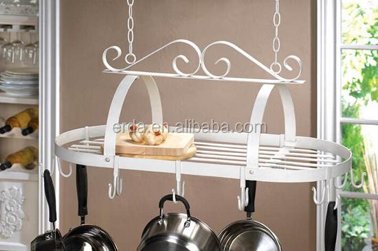 Oval Menggantung Pot Rak Penyimpanan Peralatan Dapur Masak Pan
