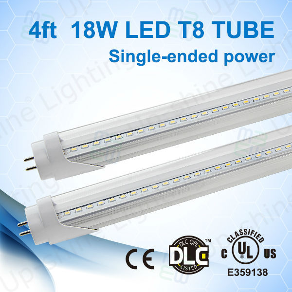 Lighting manufacturer 5 years warranty no flash high PF AC100-277V single-ended quality LED T8 tubes indoor use