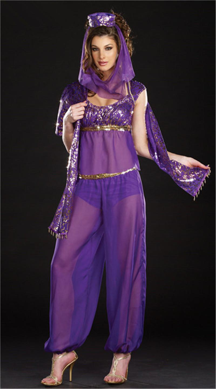 Aladdin Sexy 2019 purple sexy arabic belly dance costume halloween cosplay wedding sexy  goddess genie jasmine aladdin princess costume from morph1ne, $38.82 |