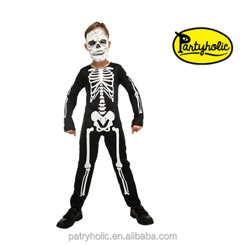 fashionable halloween children skeleton black costumes kids cosplay party costumes13099