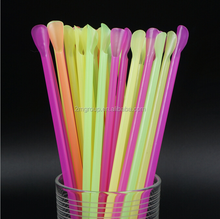 Free sample drinking straw ice cream spoon reusable plastic straw spoon