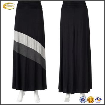 ff8136faaae288 nieuwste mode vrouwen katoenen colorblock gestreept patroon combineren een  brede elastische tailleband lange maxi rok