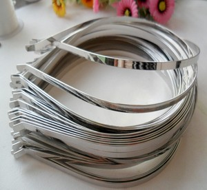 Wholesale 5mm Silver Black Gold Metal Headband for Women Men Hair loop DIY Hair Band Accessories