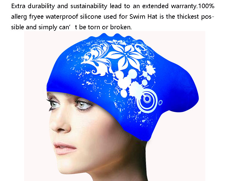 Waterproof diving hat long hair Printed logo silicone protective swimming cap