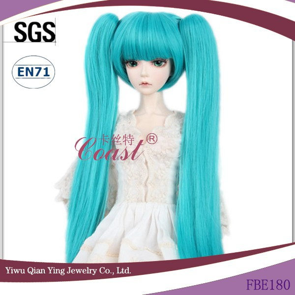 long straight blue american girl ponytails wigs for dolls