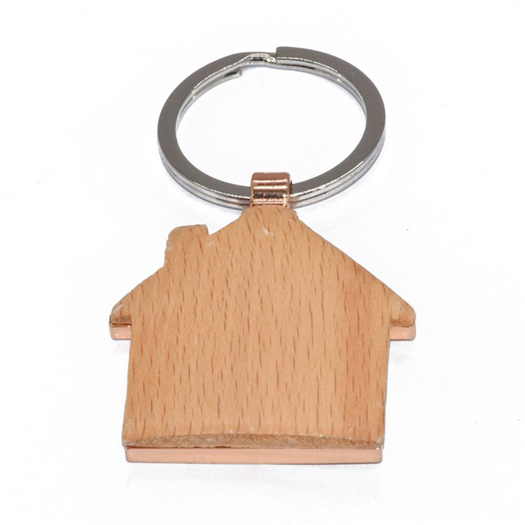 New model guangzhou wooden house keychain key ring+ornament decorations wooden craft keychain