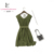 Hangzhou Wholesale Silk Army Green Sexy Dress for Ladies
