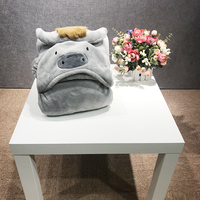 Adult Hooded Shawl Blanket with cartoon Hoodie Animal head