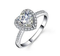 PLW0836R Halo style Moissanite center accents Angel heart shaped Solid Gold ring designs for girls