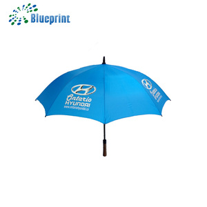 Custom print black fiberglass shaft 27 inch auto open golf stick umbrella with 190T pongee and polyester