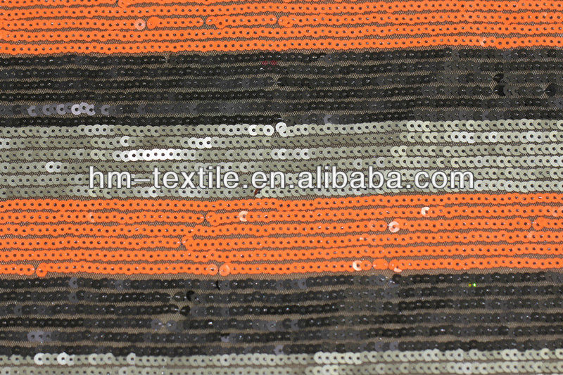stripe made of 3 color 5mm sequin embroidered mesh fabric