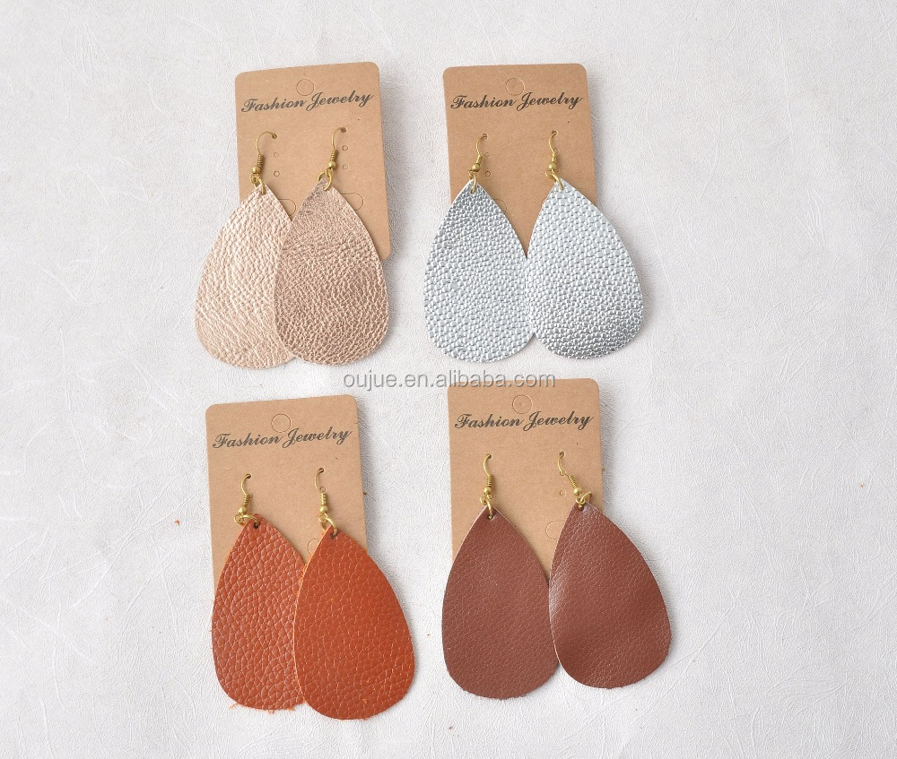 Beautiful Genuine Leather Teardrop Earrings 18 Colors