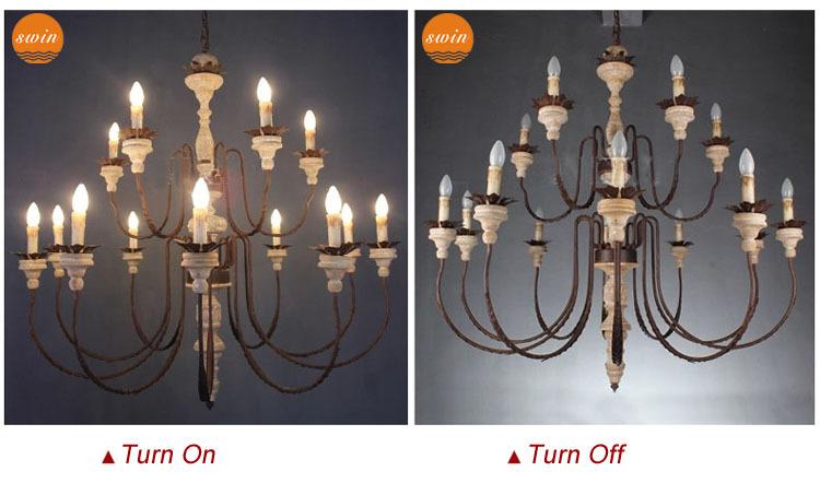 Lampadario In Legno Design : Nuovo design a due livelli grande lampadario in legno luci d epoca