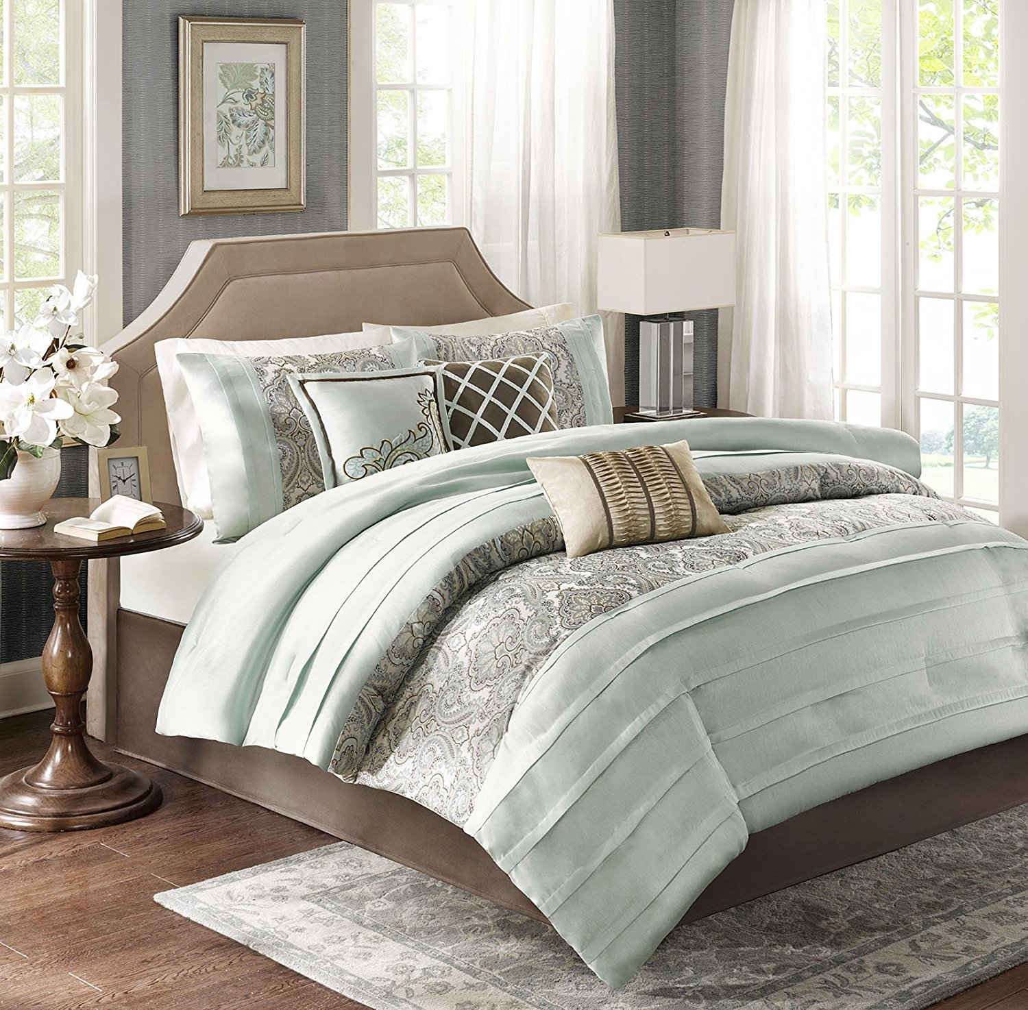 Get quotations · madison park bryant cal king size bed comforter set bed in a bag aqua