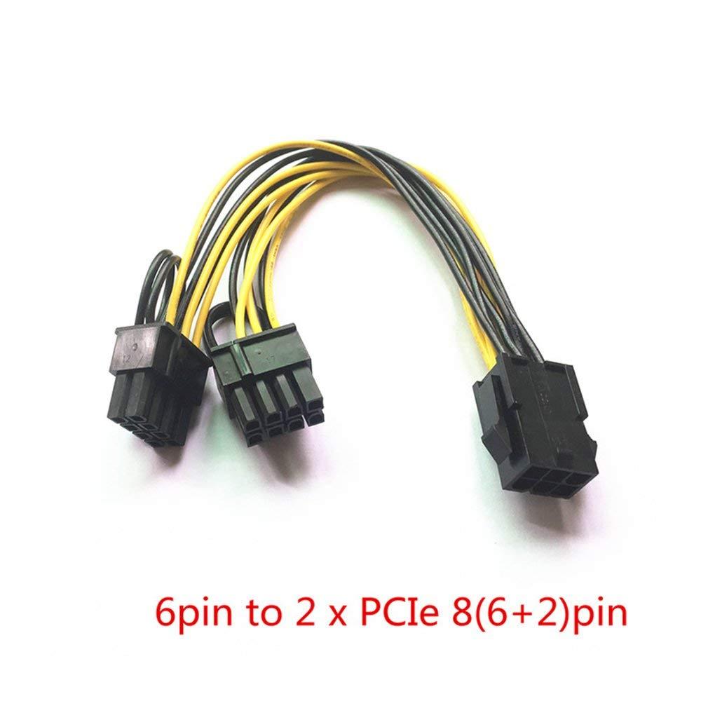200PCS/LOT 18AWG PCI-E 6pin F to Dual 8pin(6+2) M UPS Y-Splitter Extension Cable 20CM,0.2m