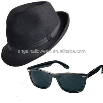 The Blues Brothers Gangster Black Trilby Hat   Glasses Fancy Dress Costume  CH1558 9affc2e8475