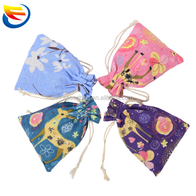 2018 Hot cute deerlet pattern small cotton pouch jewelry drawstring bag