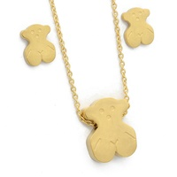 Simple Bear Designs 18K Fine Jewelry 316L Stainless Steel Women Gold Necklace Set