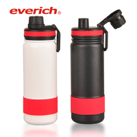 Custom Color Stainless Steel Double Walled Vacuum Insulated Water Bottle with Silicone Grip