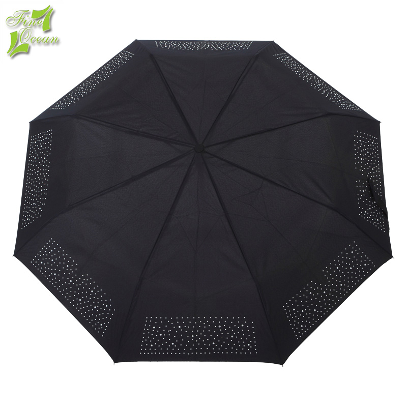 Black men 3 fold auto open and close windproof travel umbrella