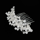 High quality Elegant Silver Leaf Alloy Diamond Bridal Hair Comb Wedding Headpiece with Crystal
