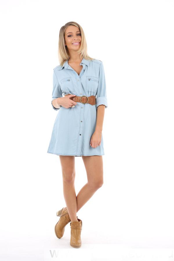 43cc442d458 Dakota Chambray Shirt Dress In Light Denim - Buy Colored Denim ...