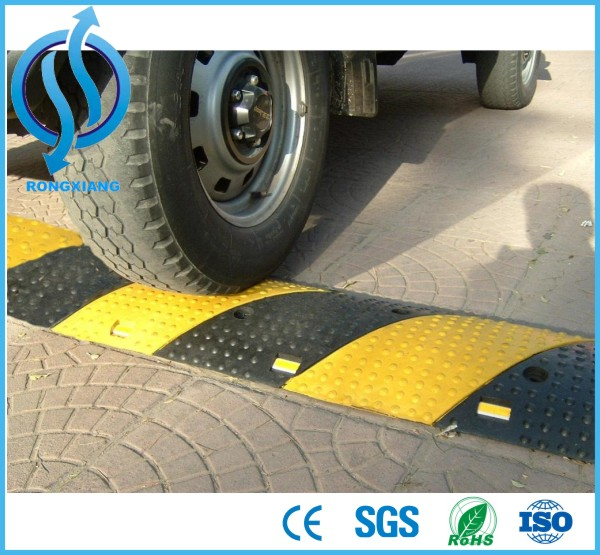 Rubber reflective road speed hump