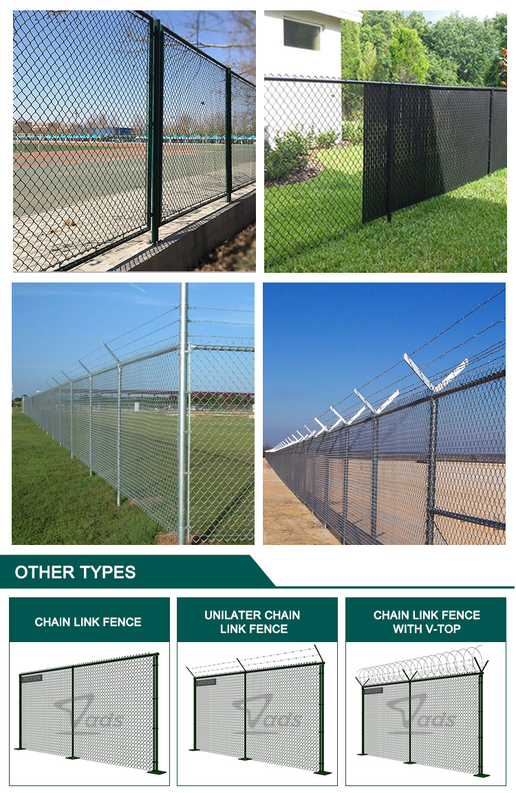 Factory direct sale wall pvc coated used wire mesh chain link fence for sale