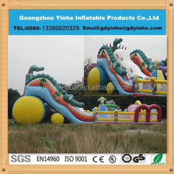 2015 Yh FC105 New Design 0.55mm Pvc Giant Inflatable Crocodile Trampoline