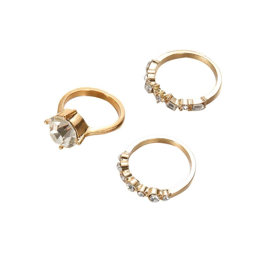 OldSch001 Womens 3 Pcs/Set Stack Ring Fashion Classic Diamond Above Knuckle Rings (Gold)
