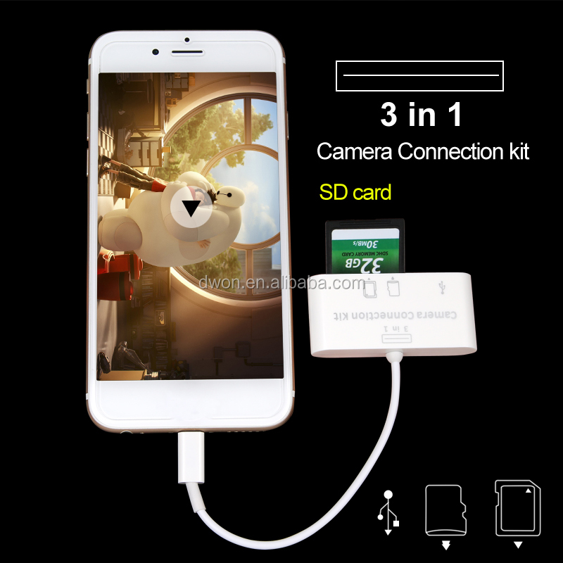 3 in 1 SD Card Type and USB Interface Card reader for Apple