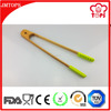 New Design Kitchen Utensil High Quality Bamboo Food Tongs with Silicone Clips/ 14 Inches Silicone Tongs for Barbecue