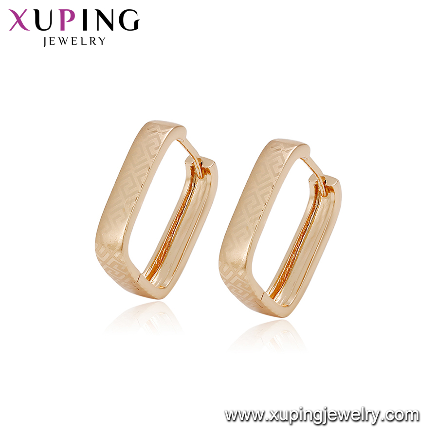 94919 fashion simple earring designs new model earrings square hoop cheap 18k gold plated imitation jewelry for women