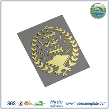 Custom high quality adhesive metal nickel 2d raised logo label stickers