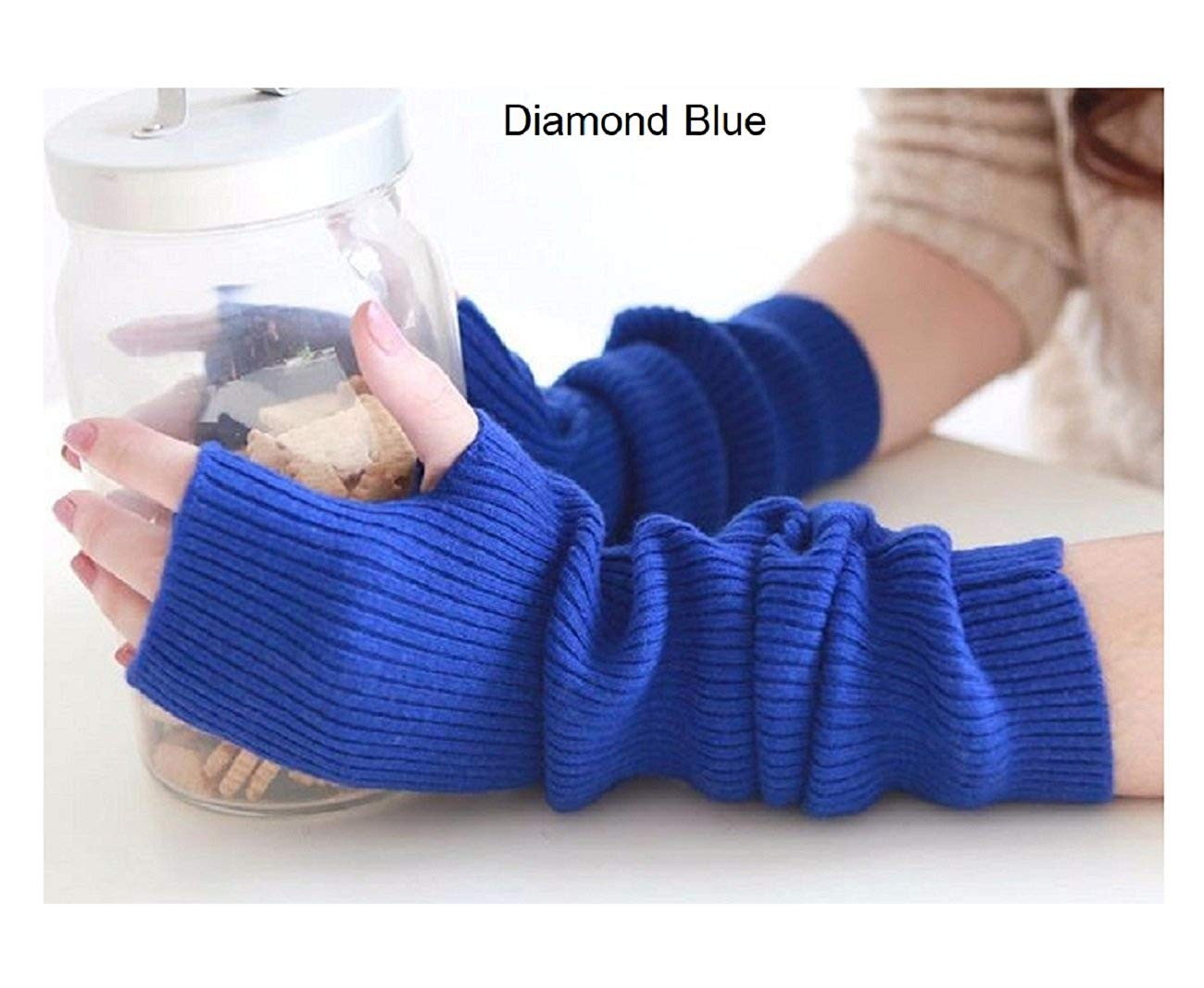 LB-Women's Winter Christmas Cashmere Blend Knitted Long Gloves Fashion Warm For Lady Elbow Mittens