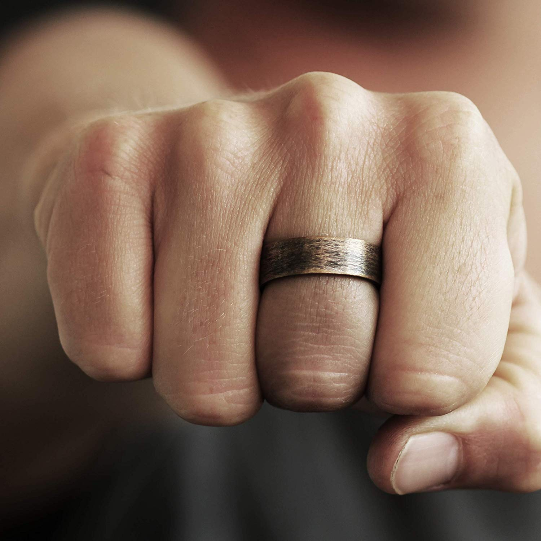Thorsten FRAENER Pipe Cut Polish Finished Black Ceramic Wedding Ring 6mm Wide Wedding Band from Roy Rose Jewelry