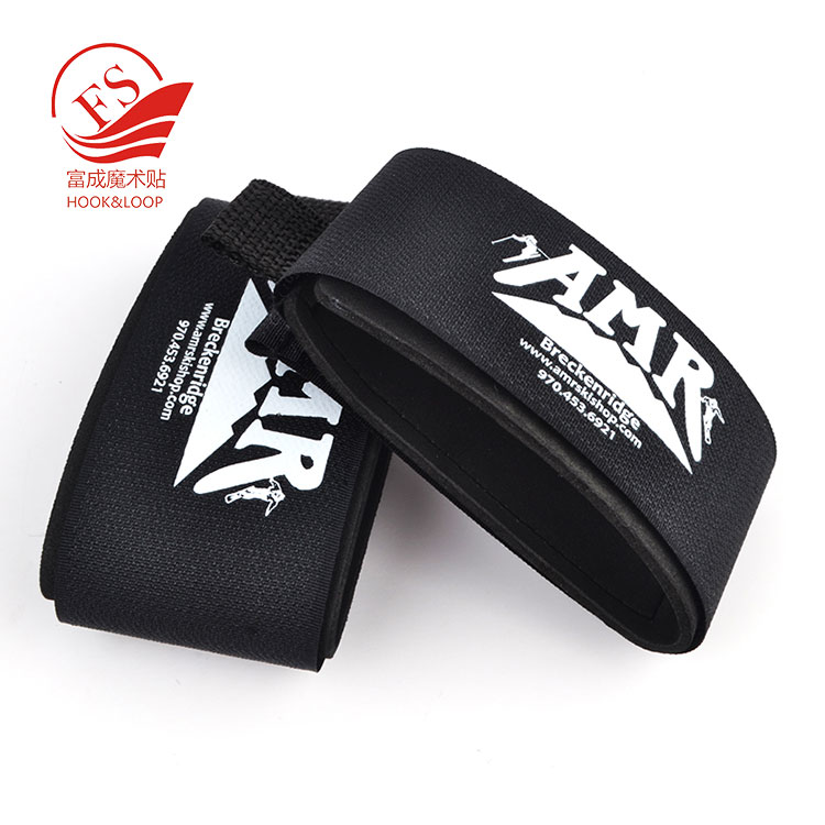 Promotional Gift Custom Printing Alpine knee rubber or  EVA ski Strap skiing band with pull tab