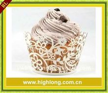 White Floral Filigree laser cut cupcake wrappers.