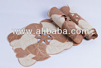 Jute with leaves design table runners