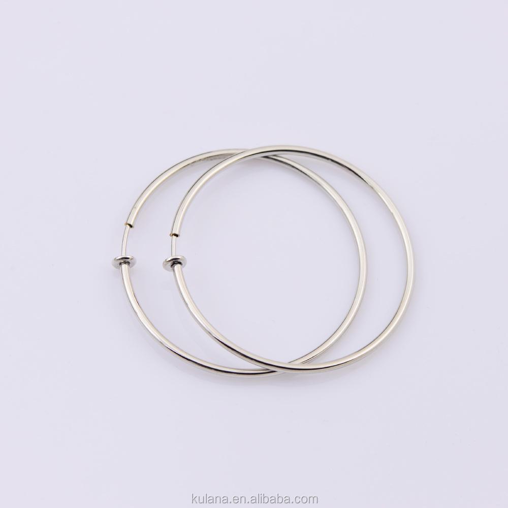 50mm Wide Fake Piercing Spring Hoops Clip On Earrings Round Wire Hoop Earring Thin