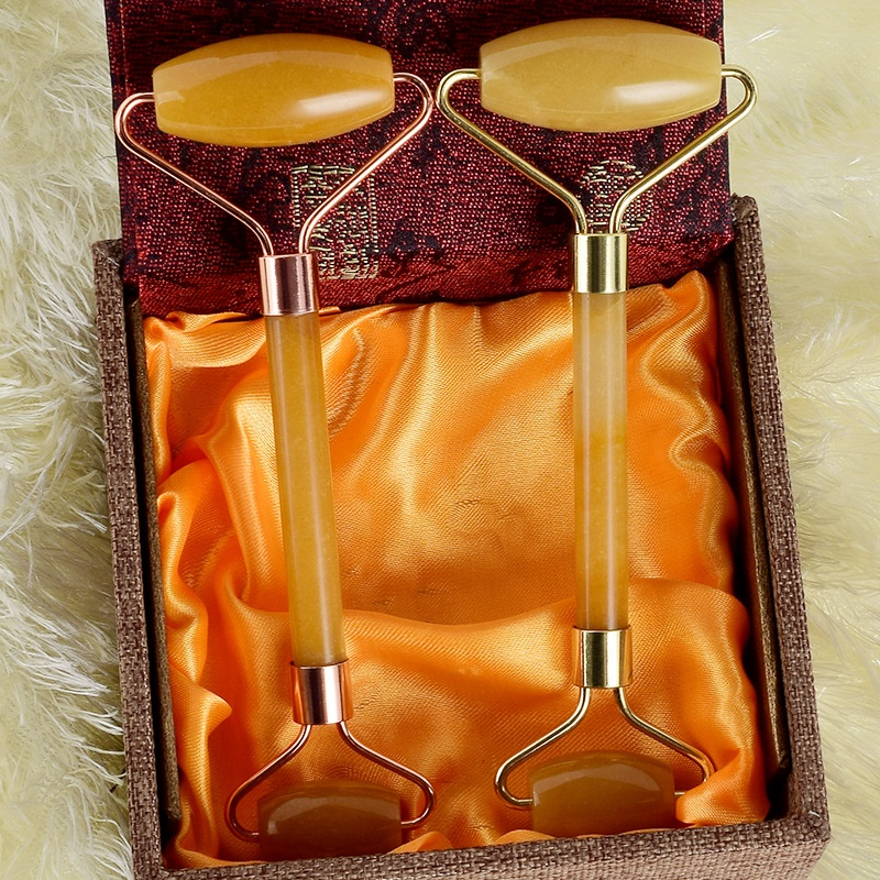 Wholesale Handheld Double Side Jade Roller Beauty Makeup Cosmetic Slim Facial Massager Natural Red Aventurine