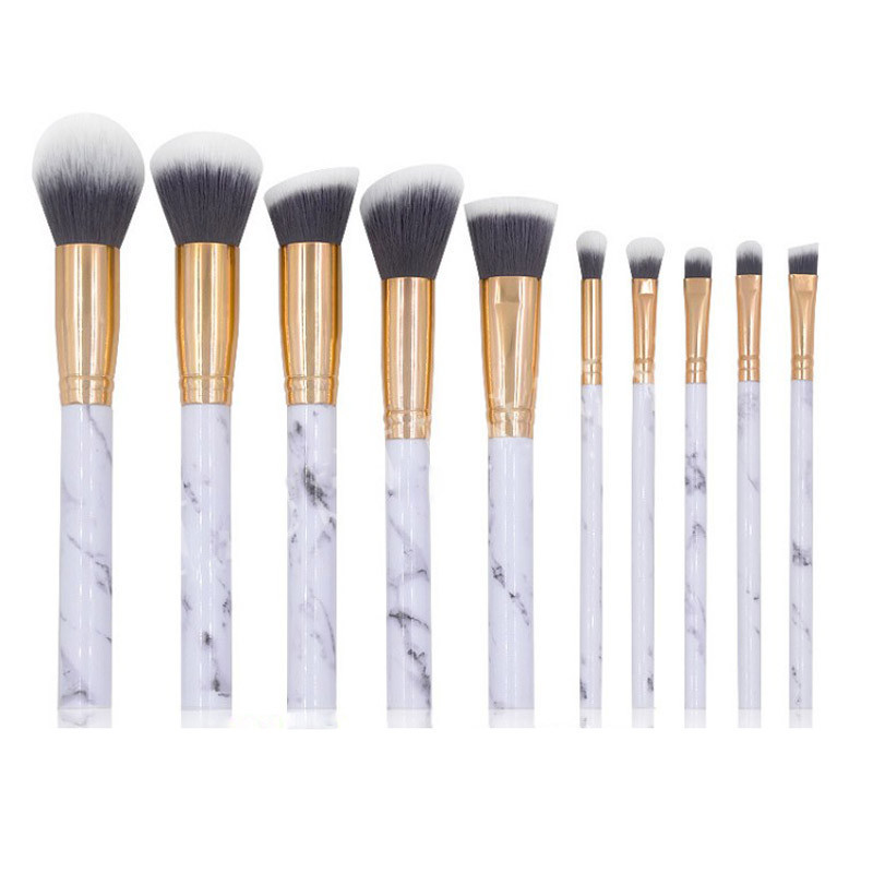 10 pcs Marmer Make-Up Kwasten Sets Make Up Borstel Gezicht Eyeliner Blush Contour Foundation Oogschaduw Borstels voor Vrouwen Meisjes