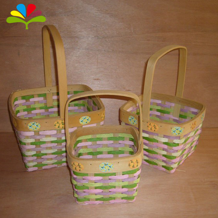 Eco-Friendly Bamboo Round Easter Basket Wholesale cheap felt Easter Basket