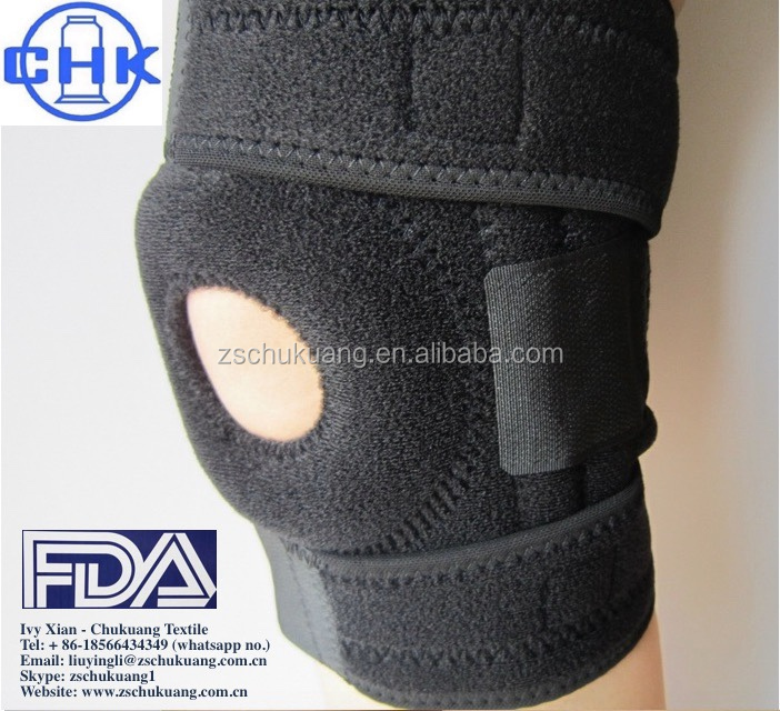 Adjustable open patella knee protection support anti slip neoprene hinged knee brace
