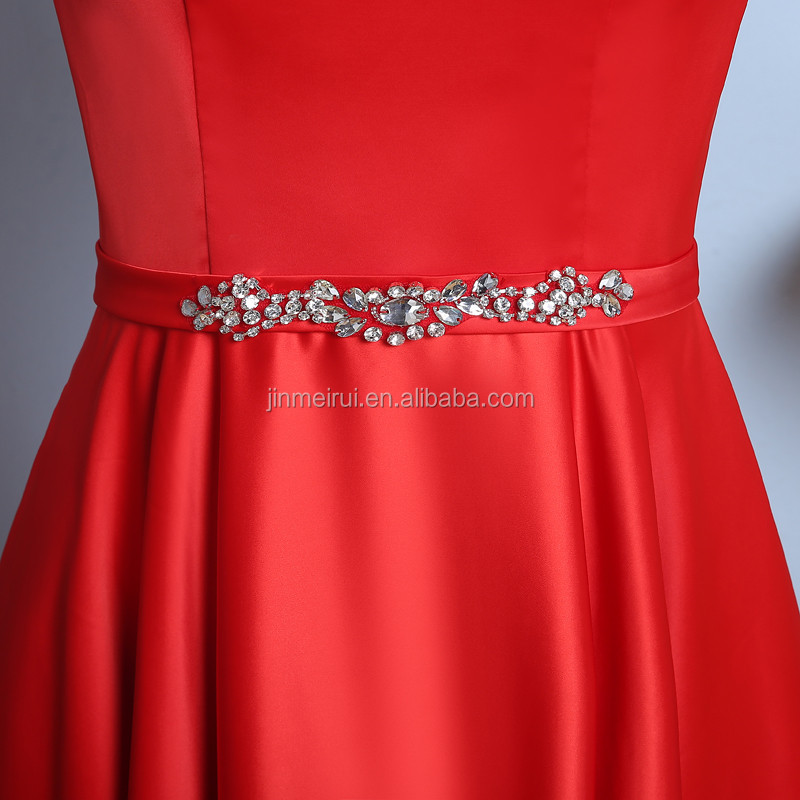 2018 New Arrival Exquisite Red Jewel Sleeveless A Line Anke-length Beaded Satin Peplum Evening Dress