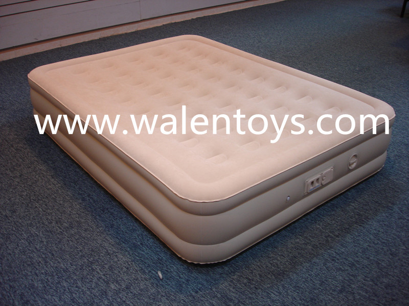 china manufacture high raise flocked air bed/inflatable pvc flocked air mattress air bed