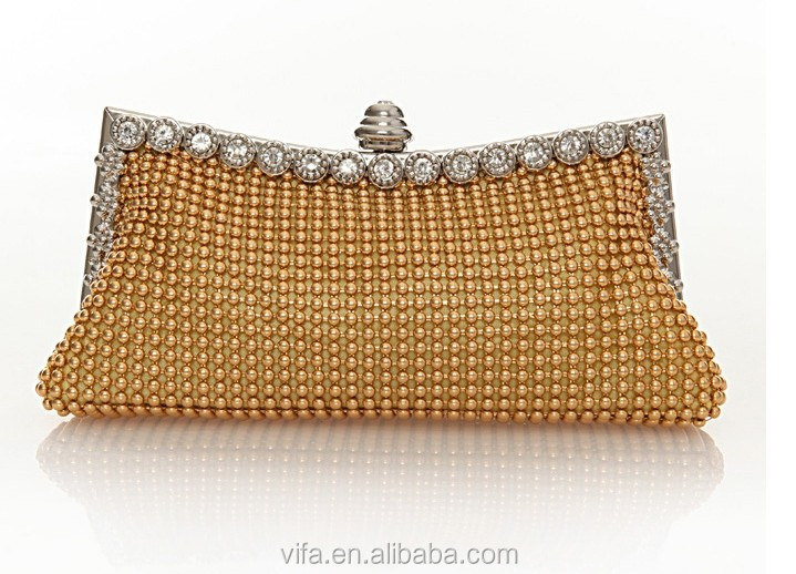 Luxury Aluminum Sequins Diamond Designer Clutch Frame Evening Bags with Chain Handle