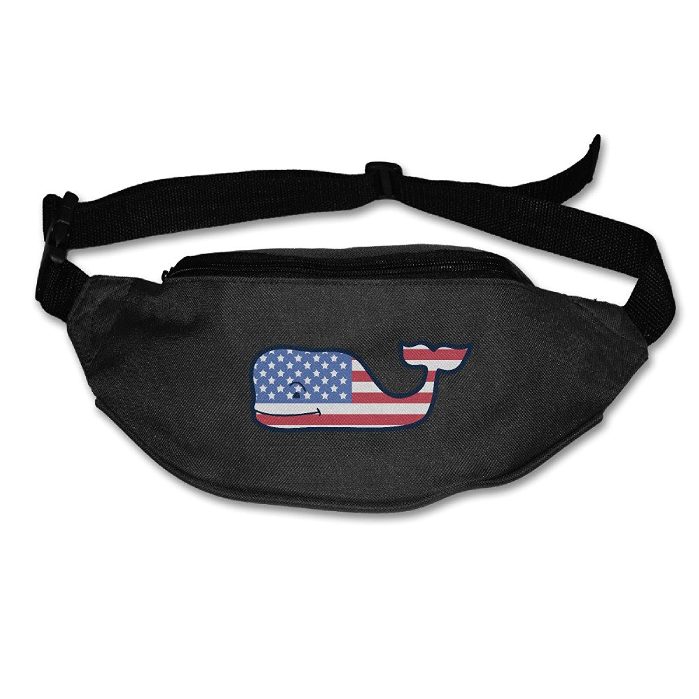 USA Flag Whale Logo Unisex Waist Pocket Phone Holder Pack Bags